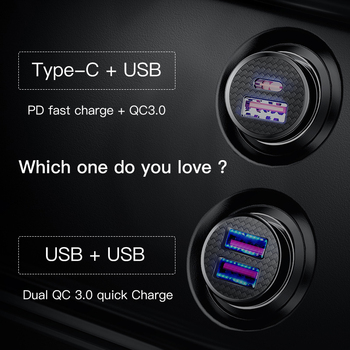Baseus 30W Quick Charge 4.0 3.0 Car Charger For Samsung Huawei Supercharge SCP USB Type C PD 3.0 Fast Charging Car Phone Charger 1