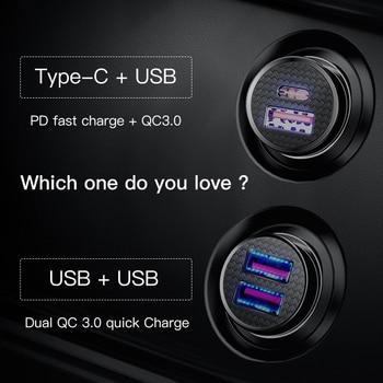 Baseus 30W Quick Charge 4.0 3.0 Carregador de carro para Samsung Huawei Supercharge SCP USB Tipo C PD 3.0 Carregador rápido de carro Carregador de telefone 1