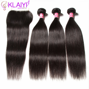 KLAIYI HAIR Malaysian Straight Hair Bundles With Closure 100% Human Hair Extension 3 Bundles With Closure Remy Hair FreeShipping 3