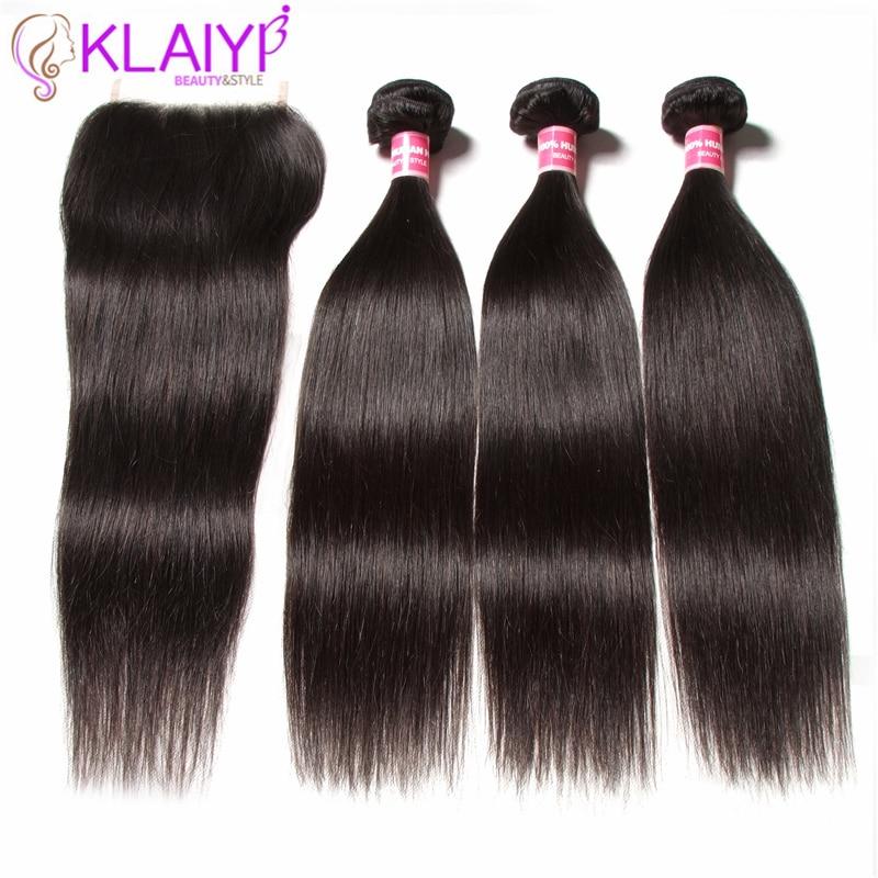 Image 2 - KLAIYI HAIR Malaysian Straight Hair Bundles With Closure 100% Human Hair Extension 3 Bundles With Closure Remy Hair FreeShipping-in 3/4 Bundles with Closure from Hair Extensions & Wigs