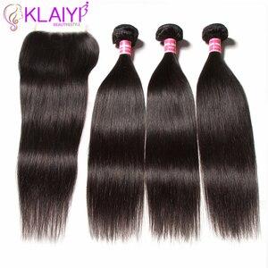 Image 2 - KLAIYI HAIR Malaysian Straight Hair Bundles With Closure 100% Human Hair Extension 3 Bundles With Closure Remy Hair FreeShipping
