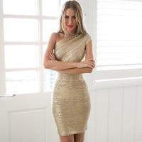 Best Quality Sexy Ladies One Shoulder Bandage Dress HL Dress Gold Foil Cocktail Party Dress
