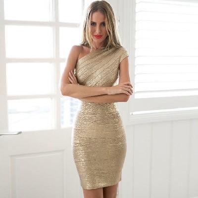 Meilleure qualité Sexy dames une épaule Bandage robe HL robe feuille d'or robe de soirée Cocktail