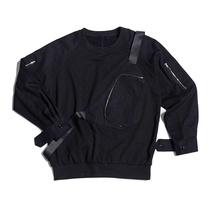 Langarm männer pullover 2018 frühling neue Koreanische version der hübscher falschen brust tasche abdeckung kopf runde kragen T shirt - 5