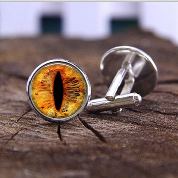3 colors fashion handmade Cufflink Dragon Cat eye glass Photo vintage DIY Art Jewelry witchcraft High Quality Cufflink jewelry image