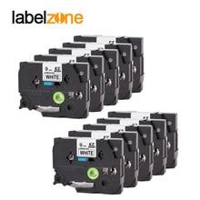 10 pcs Compatible for brother label tape Tze 221 Tze221 tze 221 P touch label printer Ribbon label maker 9mm*8m Black on white