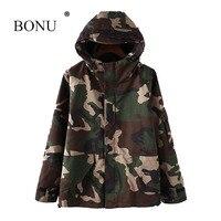 BONU Autumn Unisex Camouflage Hooded Jacket Women Loosen Plus Size Bomber Jacket Boy Friend Lover Harajuku