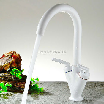 Free shipping Fancy Swan Design Dual Handle Kitchen Sink Faucet Hot & Cold Water Control Basin Tap Swivel Spout Tap White GI1153