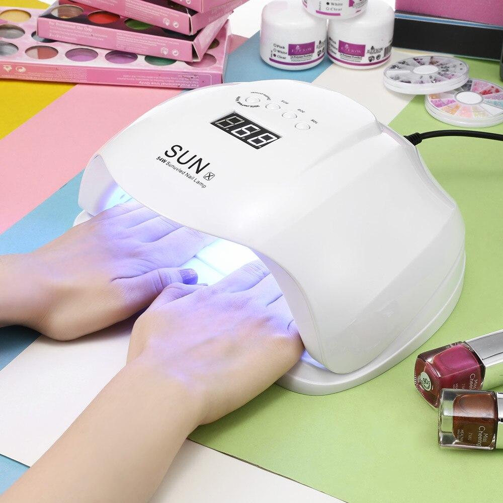 SOLE X 48/54 w UV Del Chiodo HA CONDOTTO LA Lampada LCD Display 36 Led Del Chiodo Della Lampada Per La Cura smalto del gel di Rilevamento Automatico Del Chiodo di Strumenti per Manicure