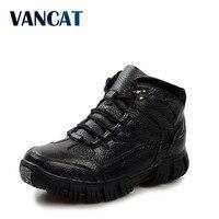 VANCAT Super Warm Winter Men Boots Genuine Leather Boots Men Winter Shoes Men Military Fur Boots