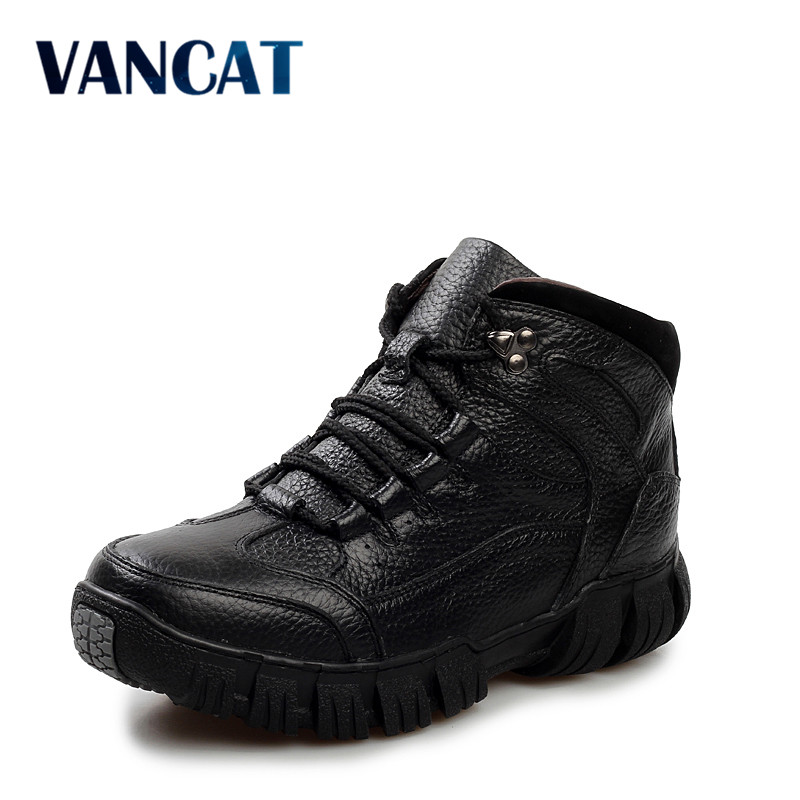 VANCAT Super Warm Winter Men Boots Genuine Leather Boots Men Winter Shoes Men Military Fur Boots