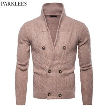 Mens Double Breasted Cardigan Sweater 2018 Autumn Winter Men Shawl Collar Cable Knit Sweaters Male Thicken Thermal Sweatercoat