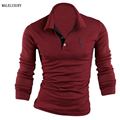 Mens Polo Shirt Brands 2017 Male Long Sleeve Fashion Casual Slim Solid Deer Embroidery Polos Men Jerseys  3XL