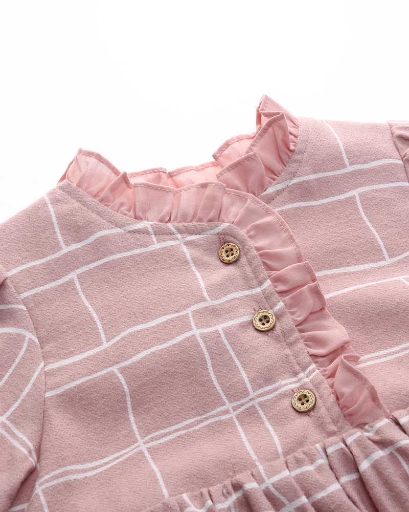 R & Z/платье для маленьких девочек коллекция 2019 года, Модное Новое Осеннее хлопковое клетчатое платье принцессы с длинными рукавами и круглым вырезом для девочек, детская одежда