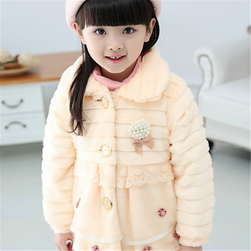 Image 3 - Girls Fur Coat Clothing With Pearl Lace Flower Autumn Winter Wear Clothes Baby Children Faux Fur Dress Dresses Style Jacket 2017-in Jackets & Coats from Mother & Kids