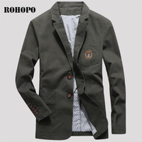 ROHOPO Single Breast 100% Thicken Cotton Slim Blazer Male,Military Army Green Noble Fit Fashion Men Korea Outwear 2019 brand