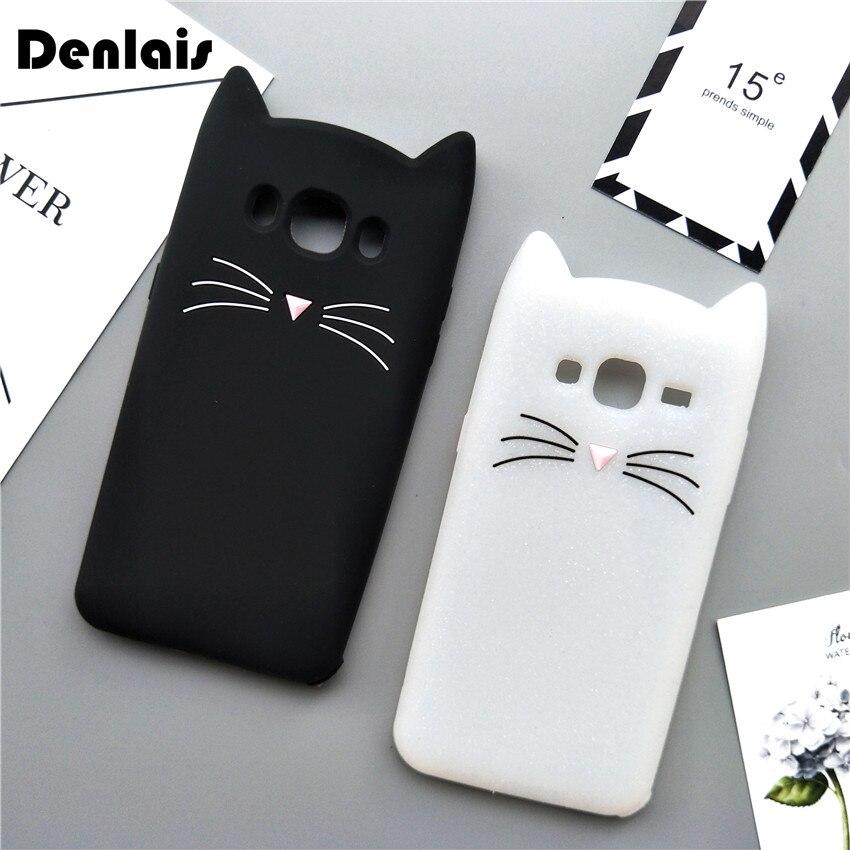 Cute Korea Cartoon Black White Cat Soft Phone Case For