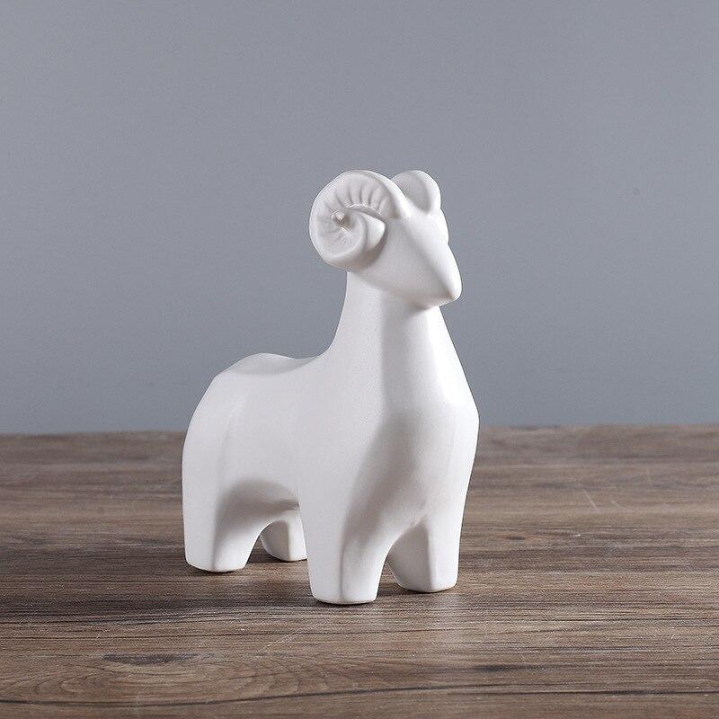 Рождественский подарок 1 набор керамических ремесел три Рэмс приносить Bliss животное Модель рабочего стола Украшение домашний Декор подарок на день рождения орнаменты - 3