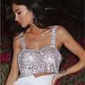 2019 Glitter Nachtclub Backless Strass Tank Top Frauen Sexy Metall Kristall Diamanten Pailletten Nacht Club Party Tragen Crop Top