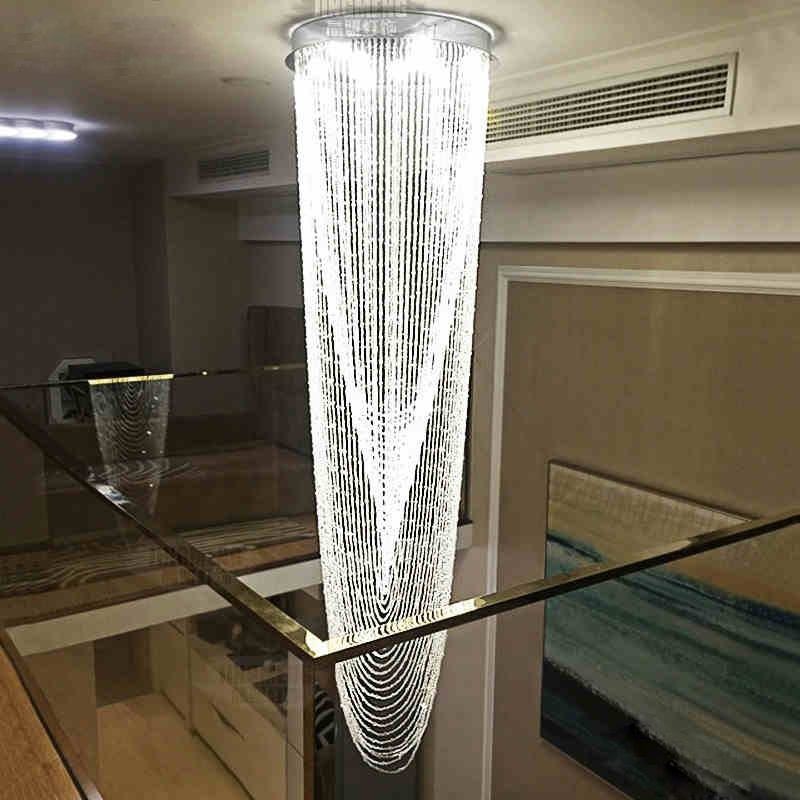 Staircase Hanging Lights Modern Double Staircase Led Chandelier Crystal Hanging