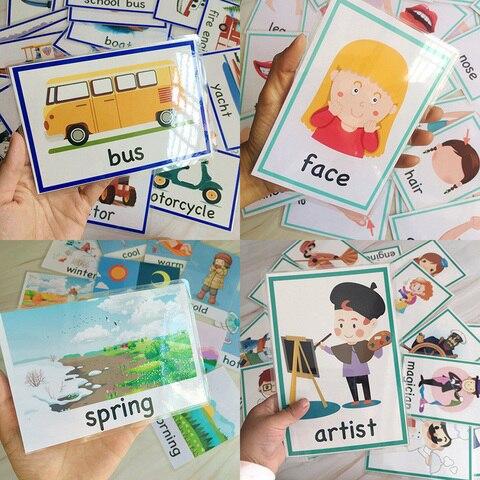 criancas bolso palavra flashcards montessori aprendizagem brinquedos educativos criancas jogo
