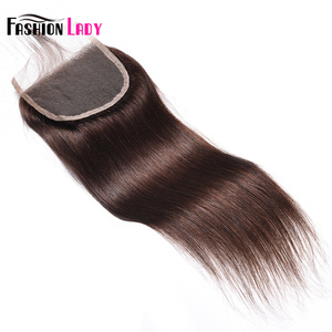 Image 3 - Fashion Lady Pre Colored Brazilian Hair Closure Straight Hair Lace Closure 4x4 inches #2 Brown Human Hair Lace Closures Non Remy