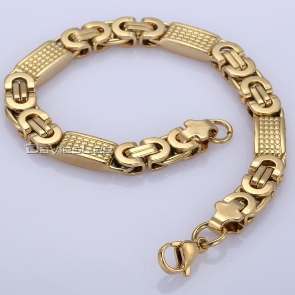 Fashion Gift 8mm Mens Chain Boys Necklace Gold Tone Flat Byzantine Link Stainless Steel Necklace Bracelet 18 36inch Dlkn275 Bracelet Stack Bracelet Chinesebracelet Element Aliexpress
