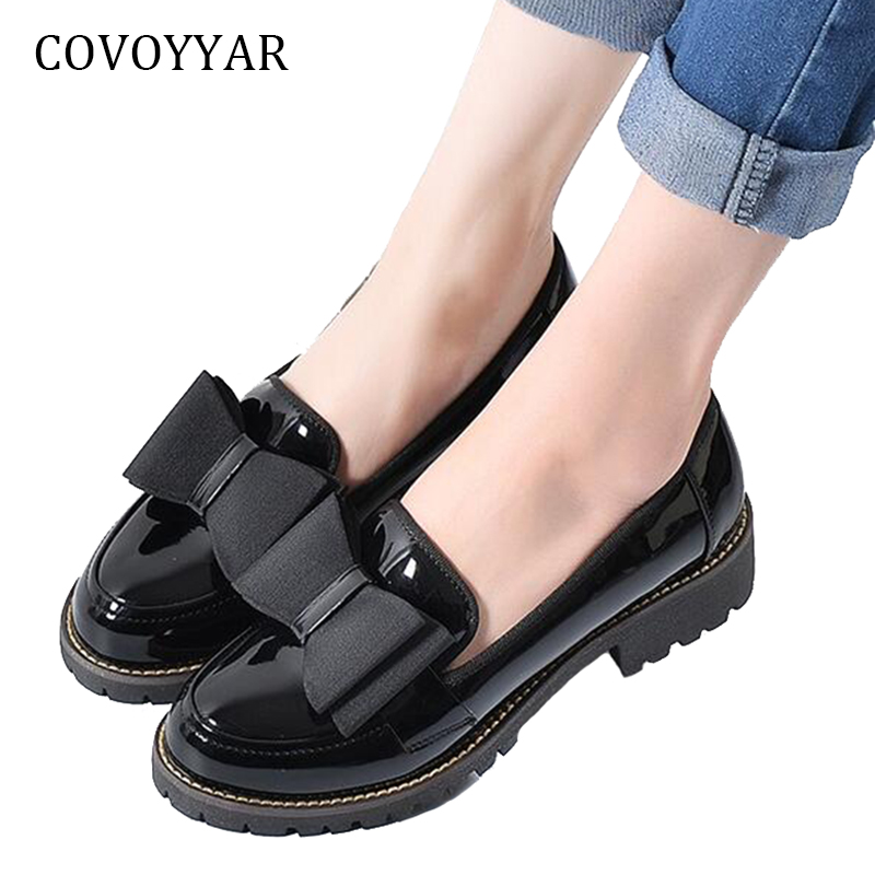 COVOYYAR Oxfords Brogue Shoes 2019 Fashion Bow Patent Leather Students Flats Slip On Platform Square Heel Women Loafers WFS989COVOYYAR Oxfords Brogue Shoes 2019 Fashion Bow Patent Leather Students Flats Slip On Platform Square Heel Women Loafers WFS989
