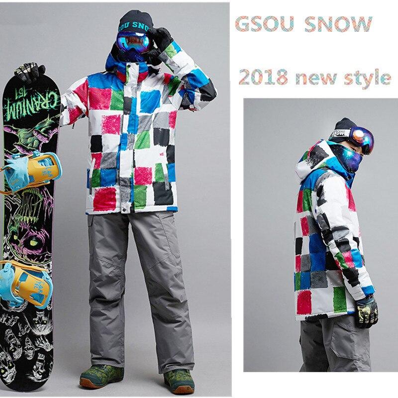 Gsou снег лыжный костюм для Для мужчин Лыжный спорт куртка Сноубординг Для Мужчин's Лыжный Спорт Уход за кожей Наборы сноуборд Водонепроницае