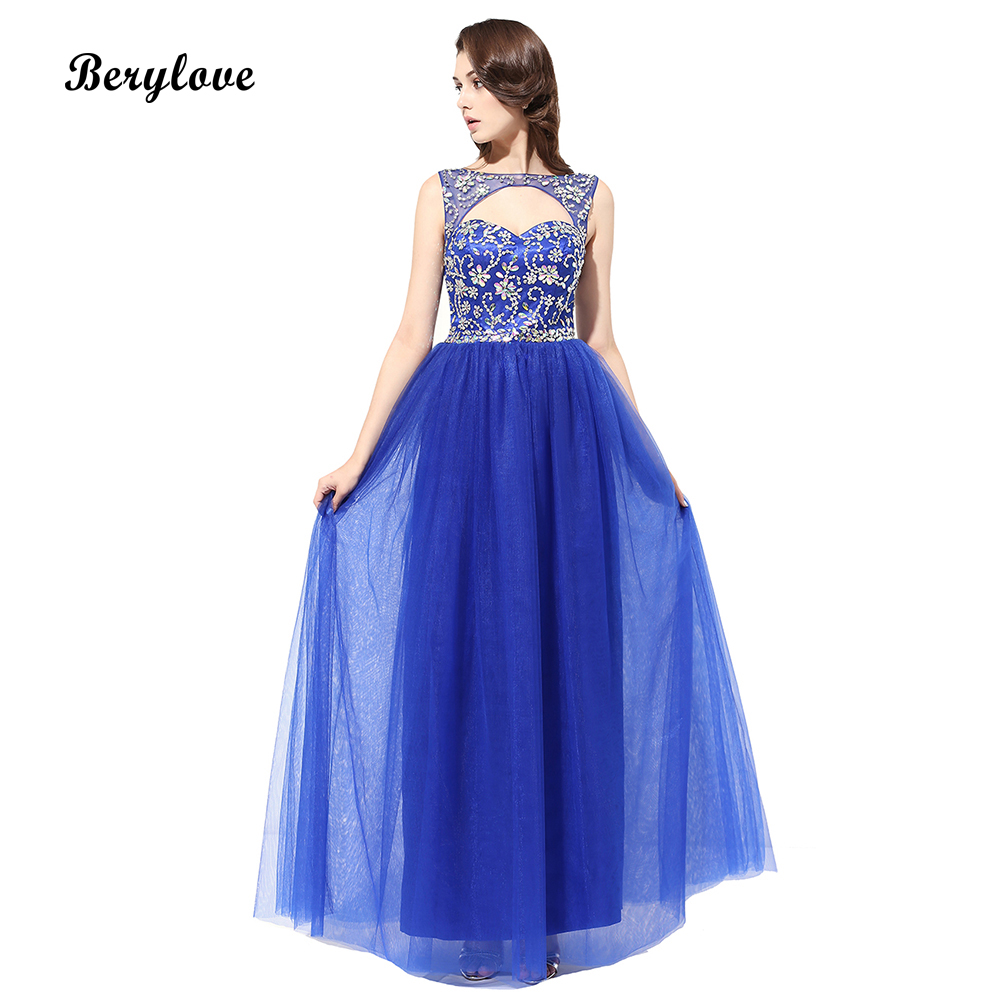 BeryLove Elegant Blue Beaded Prom Dresses 2018 Cheap Tulle Prom Gowns Long Prom Dress Occasion Dresses For Women Evening Dresses
