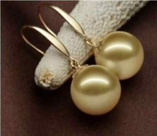 Hot sell Noble- hot sell new - shitou 00196 Huge AAA 14mm natural south sea golden shell pearl earrings