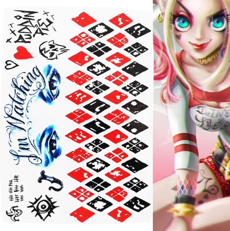 Waterproof Temporary Tattoo Sticker Suicide Squad Harley Quinn Joker