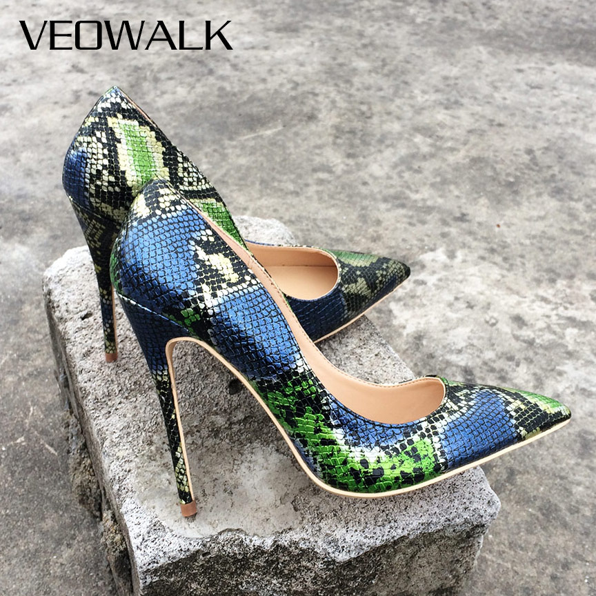 Veowalk Brand Italian Stylish Women Extreme High Heels Luxury Snake Printed Sexy Pumps Ladies Pointed Toe Shoes for Night Club stylish printed loose fitting maxi skirt for women
