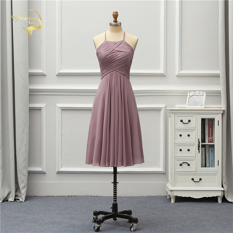 Jeanne Love Chiffon Knee Length Cocktail Dresses 2019 New Arrival Simple Cocktail Party Dress Elegant Halter