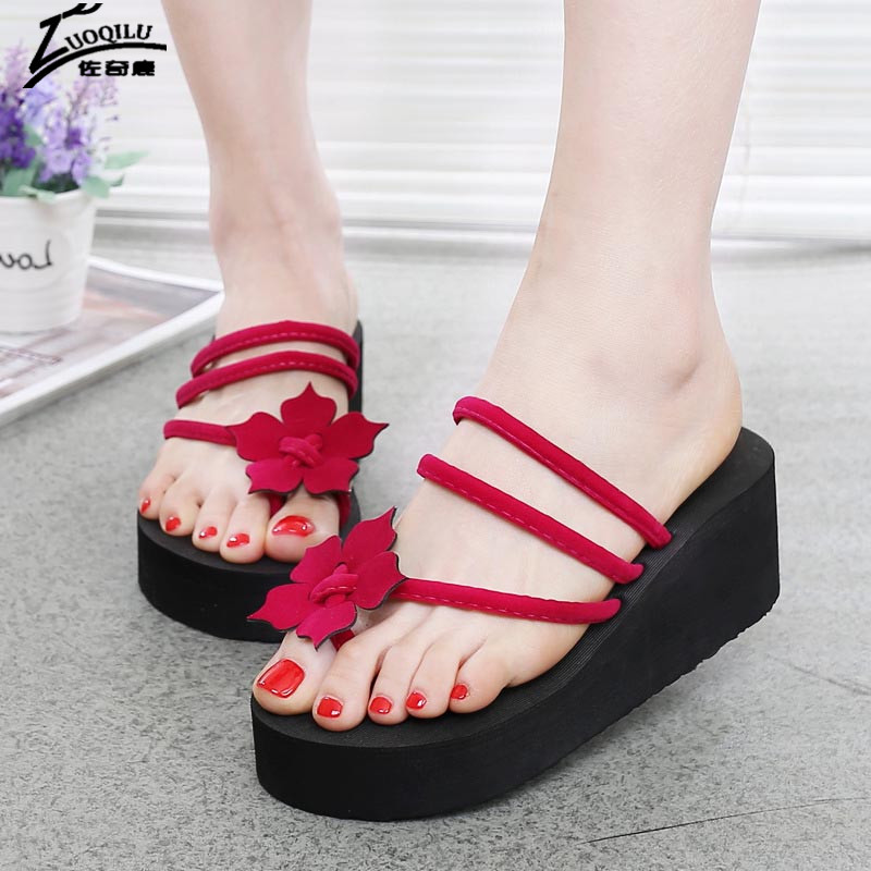 Fashion Shoes Woman Sandals Summer sandals With Platform Flip Flops High Heels Women Beach Female Summer Shoes 2017 casual wedges sandals 2017 summer beach women shoes platform flip flops print sandal comfort creepers shoes woman