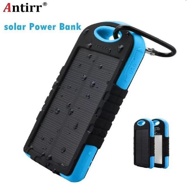132ac6830b7 Livre o Navio 5000 mah Portátil À Prova D' Água Solar Charger Dual USB Banco