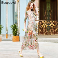 LOHER Party Embroidery Dresses Ruway Floral Bohemian Flower Embroidered Vintage Boho Mesh Embroidery Dresses For Women