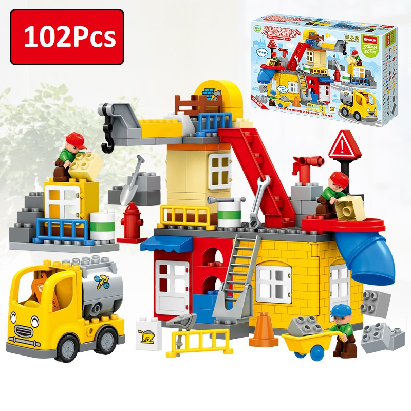 Urban construction Car Compatible Legoes Duplo Large particle Building Blocks Bricks Model Toys for children 102Pcs 196pcs building blocks urban engineering team excavator modeling design