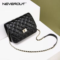 NEVEROUT Diamond Lattice 2018 Real Leather Cross Body Bag Luxury Handbags Women Bags Designer Ladies Sheepskin Small Flap Bag