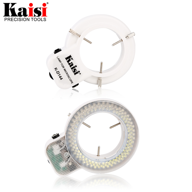 Adjustable 144 LED Ring Light Ultra-bright Lamp with 1V-240V AC Power Amplifier Adapter for Industrial Stereo Microscope220 110V