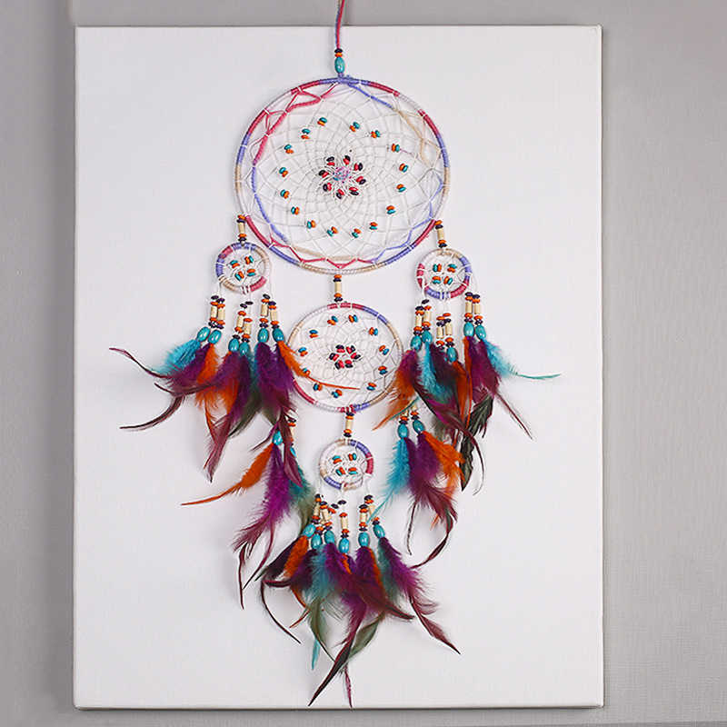 NEW Creative all handmade five-ring dream catcher pendant living room bedroom decoration wall hanging beautiful Hanging ornament