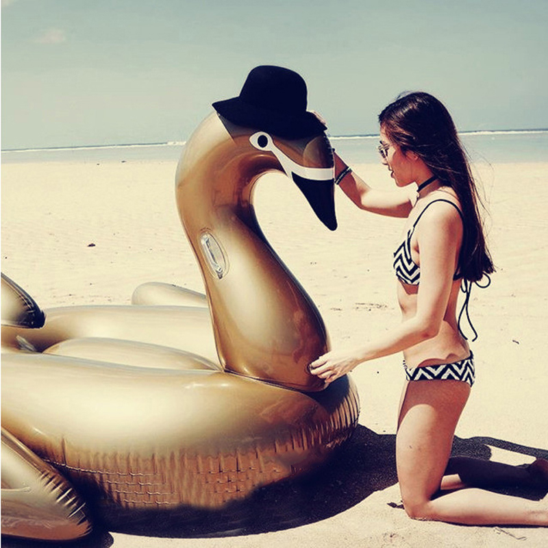 130cm Inflatable Giant Golden Swan Pool Floats Adults Ride-on Swan Swim Ring Mattress Summer Holiday Water Fun Toys Boia Piscina