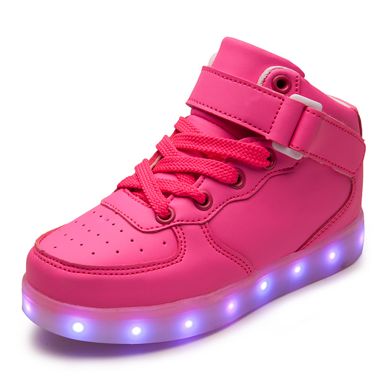 Hot Quality 7 Colors Kids LED Shoes 2017 High Top Children Sneakers For Boys Girls USB Charging Luminous Sneakers Eu 25-37