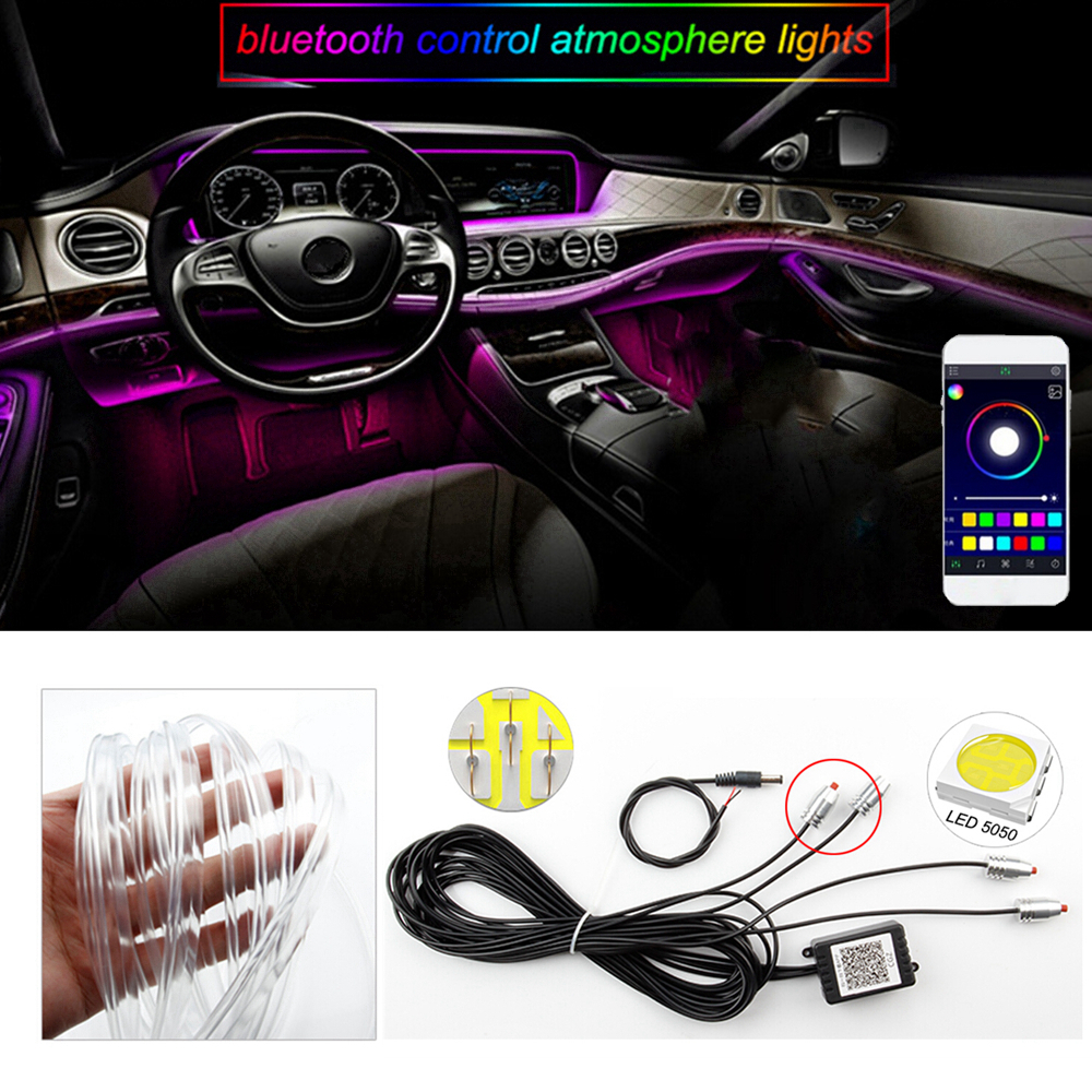 Sound Active Bluetooth Phone APP Control Colorful Car Interior LED RGB Atmosphere Lamp Neon Strip Light Car Styling Decoration new 1 set colorful rgb led car interior neon el wire strip light auto dashboard decorative lamp sound active app control