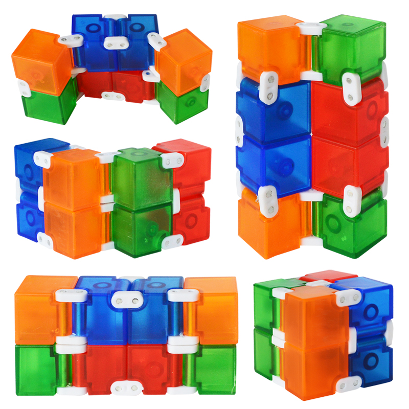 New Colorful Plastic Infinity Cube For Stress Relief  Anti Anxiety Stress Funny EDC Toys For Children