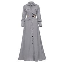 цена на Women Striped Maxi Dress Floor-length Bowknot Tie Long Sleeve Loose Button Dress Spring Pocket Elegant A-line Casual Long Dress