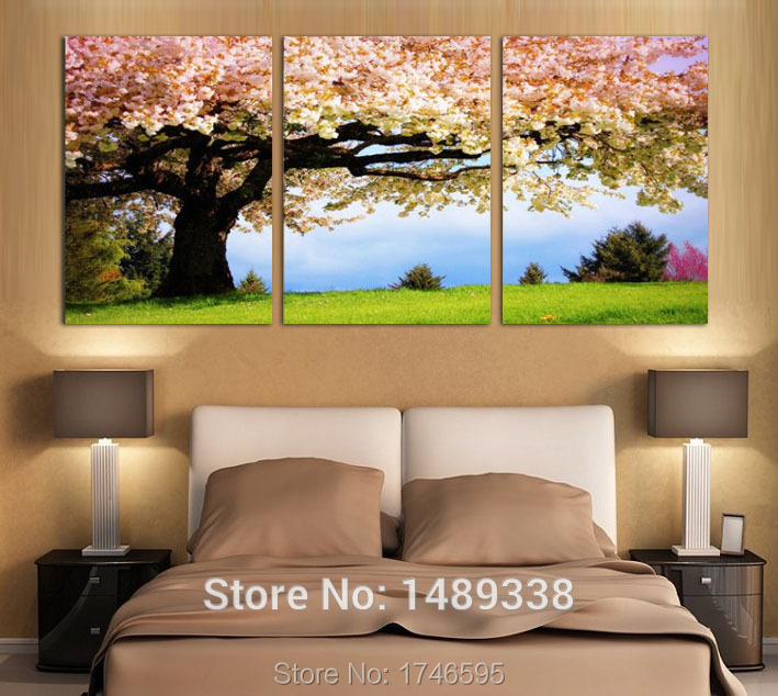 Big Size Modern Big Pink Cherry Tree Wall Art Picture For
