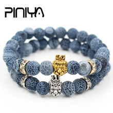 Drop Shipping Fashion 8mm Weathering Stone Bead With King Crown Lion Head Charm Stretch Bracelet Fathers Day Men Gift Jewelry