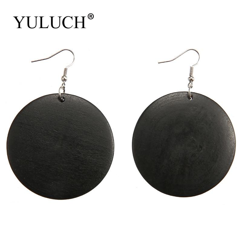 Vintage Simple Solid Round Natural Wood Earrings Dangle Earrings Big Circle Earrings Jewelry Euramerican style For Women
