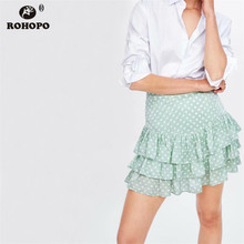 ROHOPO Women Polk Dot Cake Skirt Pleated Ruffles Cute Preppy Skirts High Waist Draped Ball Gown Mini #UK9304